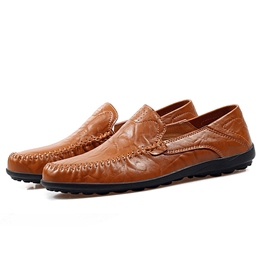 Shoespie Round Toe Soft Leather Men's Loafers