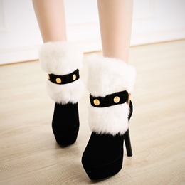 Shoespie Awesome Furry Platform Heel Ankle Boots