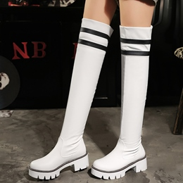 Shoespie Block Heel Stripe Sock Knee High Boots