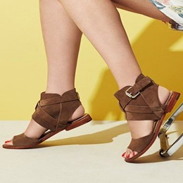 Shoespie Brown Ankle Wrap Flat Sandals