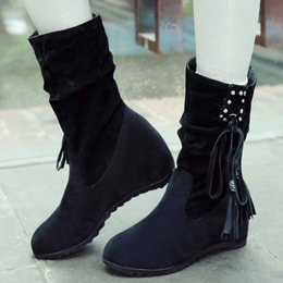 Shoespie Nubuck Lace Up Mid Calf Flat Boots