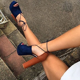 Shoespie Color Block Chunky Heel Platform Sandals