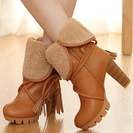 Shoespie Multi-functional Lace Up Chunky Heel Booties