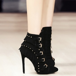 Shoespie Chic Buckle Stiletto Heel Ankle Boots