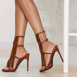 Shoespie Brown Fringes Sandals