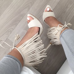 Shoespie White Fringes Sandals