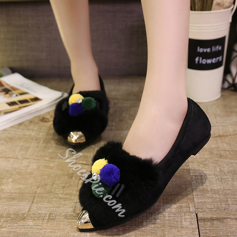 Shoespie Pointed Cap Toe Pompom Accented Loafers