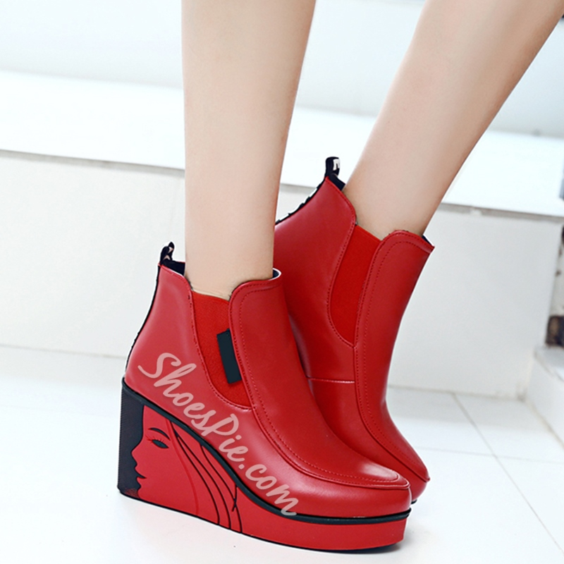 Shoespie Round Toe Printed Toe Wedge Heel Ankle Boots