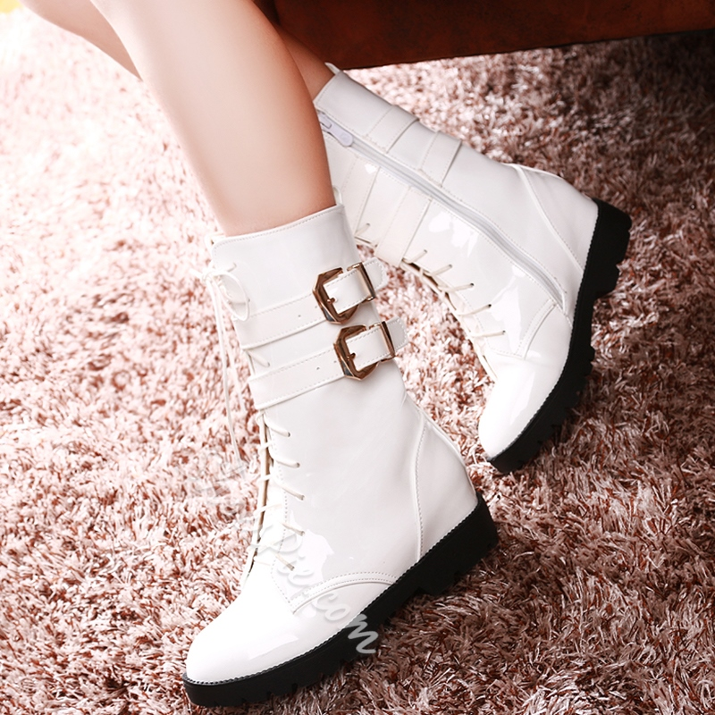 Shoespie Round Toe Buckle Flat Martin Boots