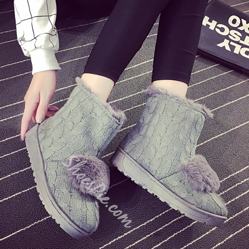 Shoespie Cute Woolen Pompom Accented Snow Boots
