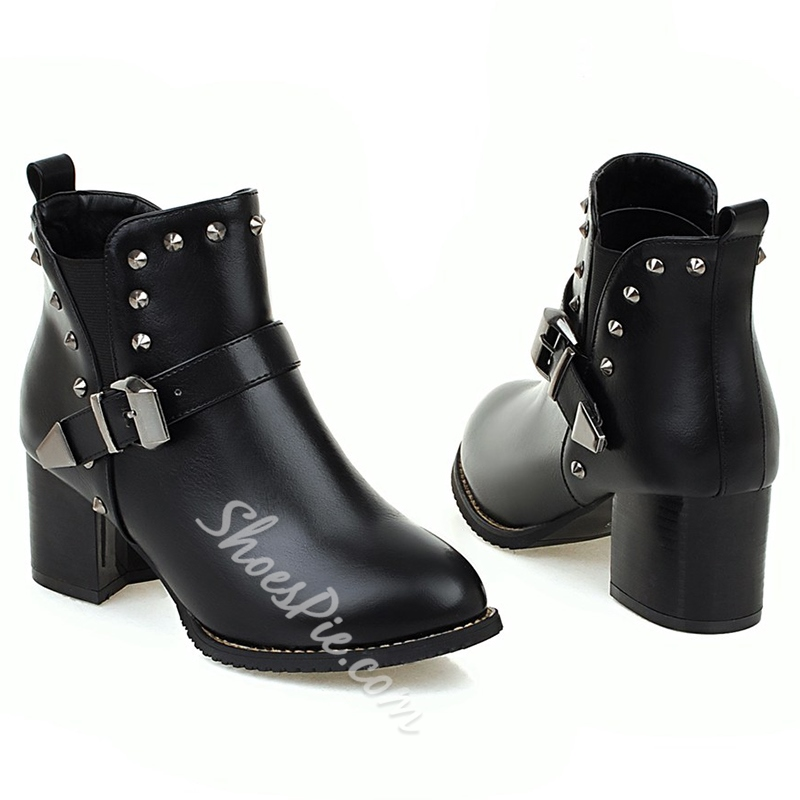 Shoespie Rivets Block Heel Ankle Boots