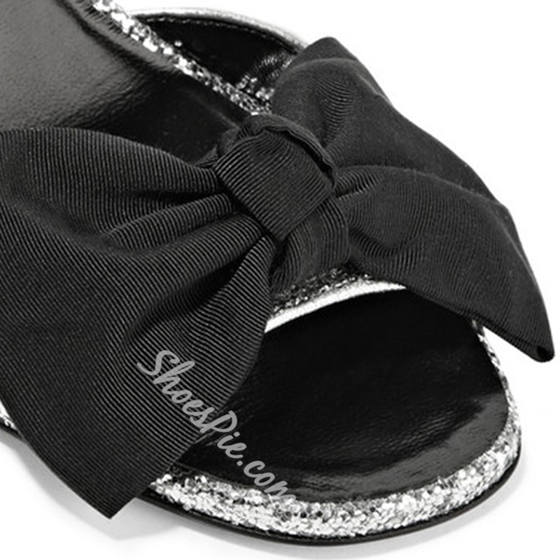 Shoespie Silver and Black Bows Dress Sandals