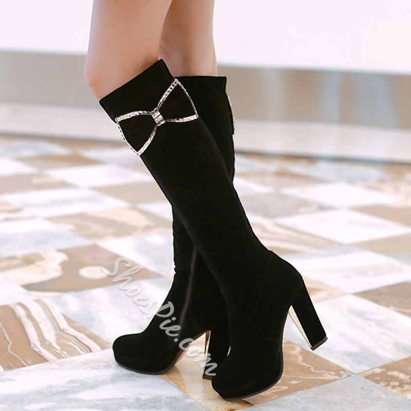 Shoespie Bow Appliqued Chunky Heel Knee High Boots