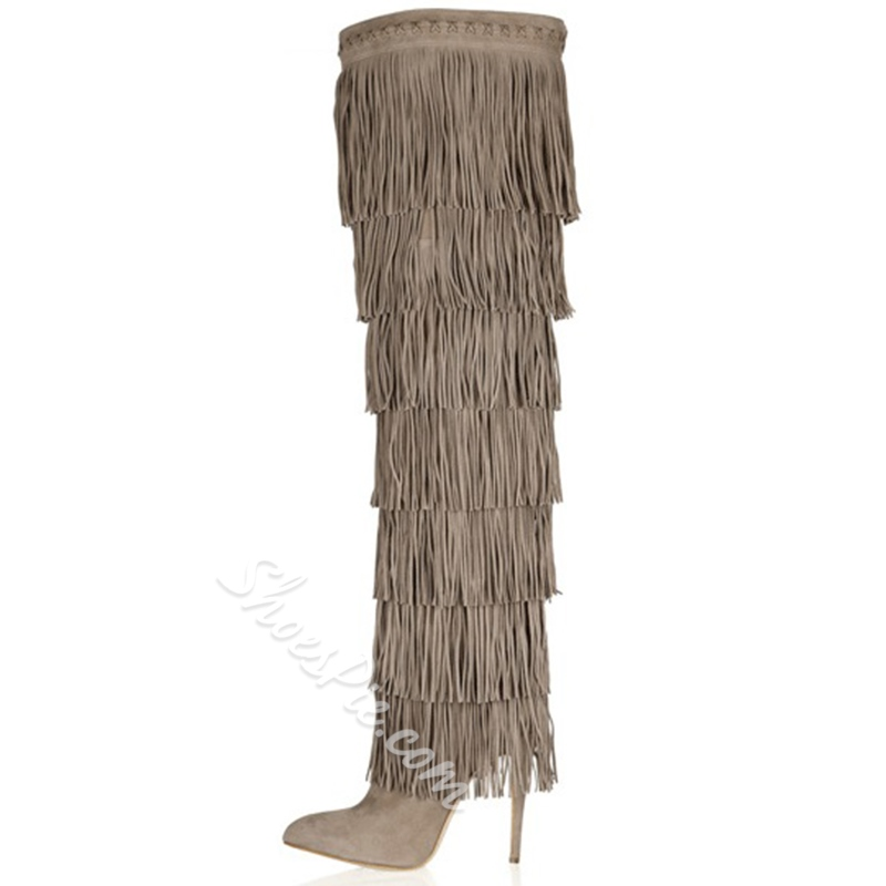 Brilliant Stiletto Heels Kid Suede Women Boots With Tassels