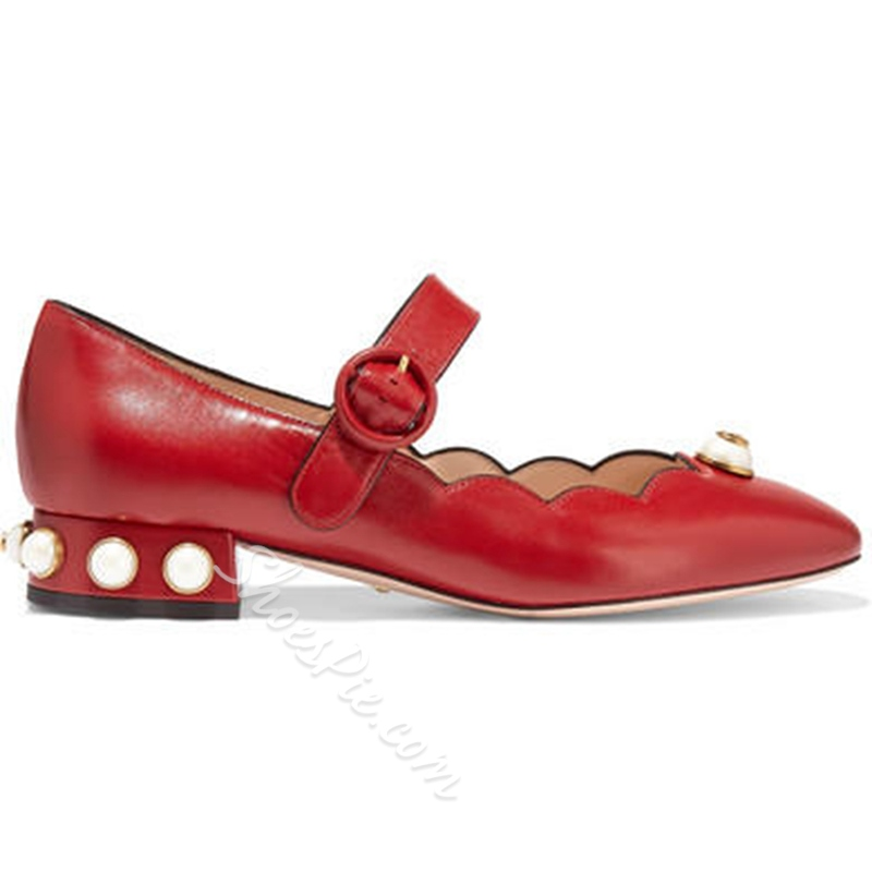 Shoespie Red Round Toe Mary Jane Low Heels