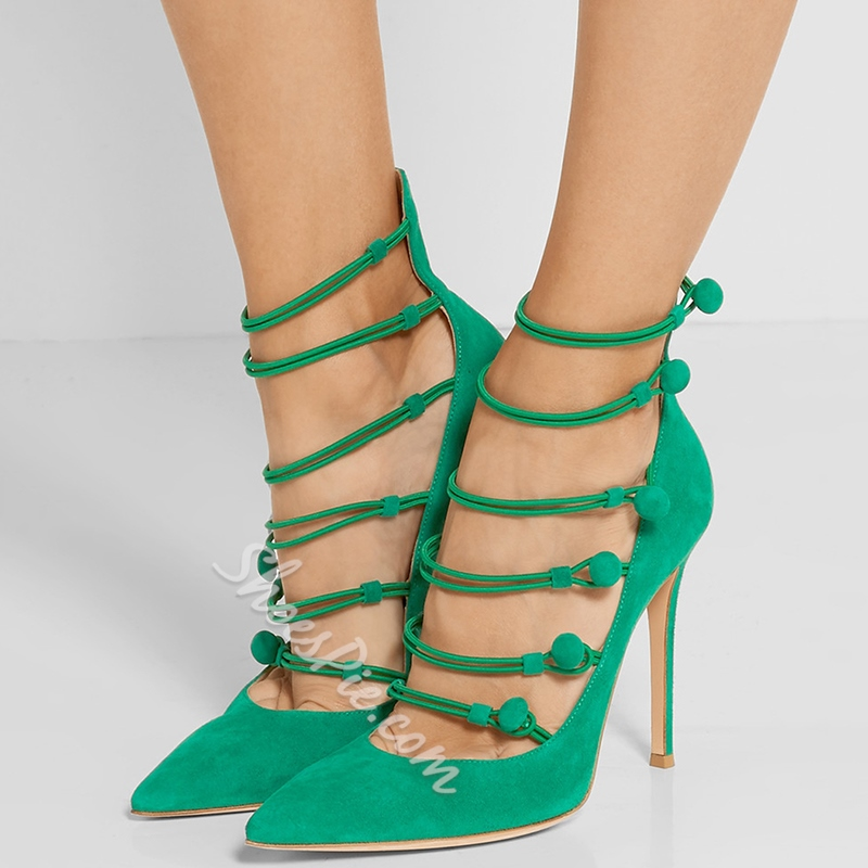 Shoespie Chic Green Button Loop Stiletto Heels