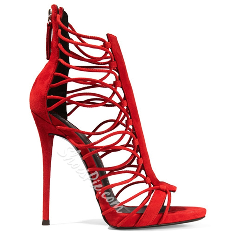 Shoespie Red Open Toe Back Zipper Stiletto Heels