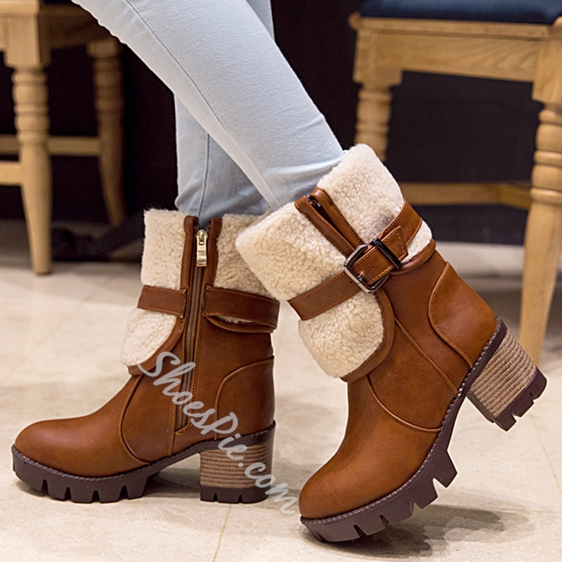 Shoespie Chic Patchwork Block Heel Snow Boots