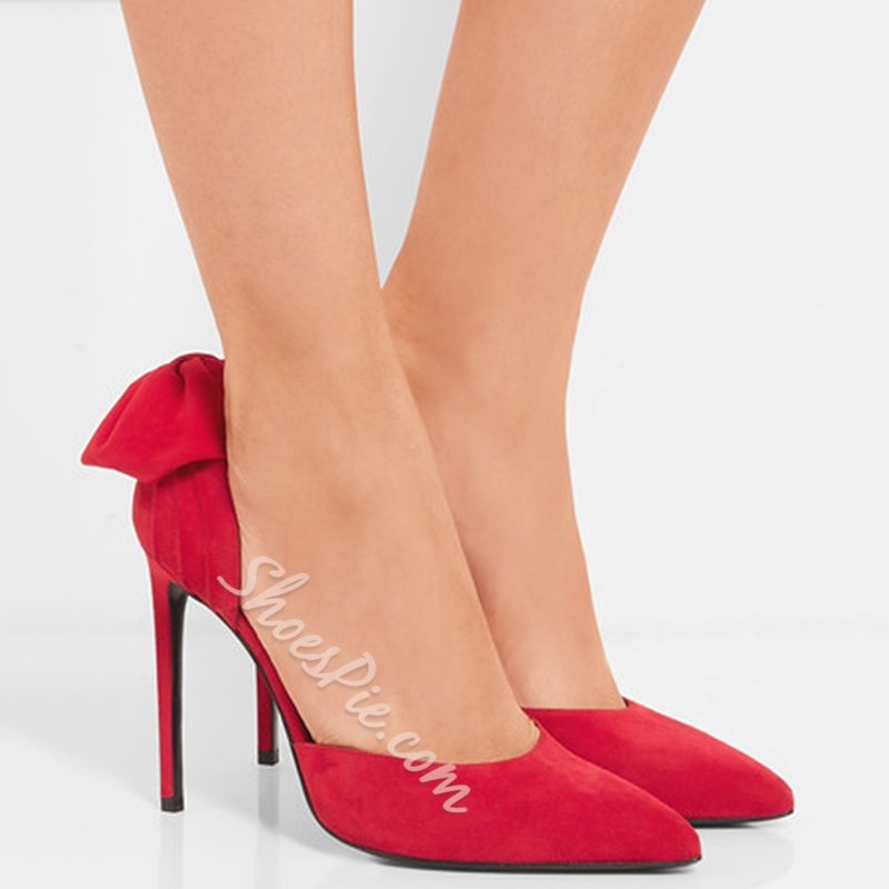 Shoespie Red Bow Back Stiletto Heels