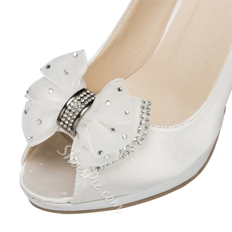 Shoespie Cute Mesh Bow Peep Toe Bridal Shoes