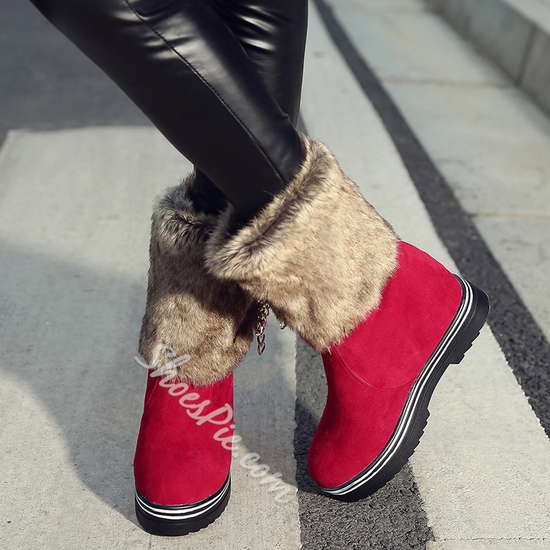 Shoespie Furry Bow Warm Snow Boots