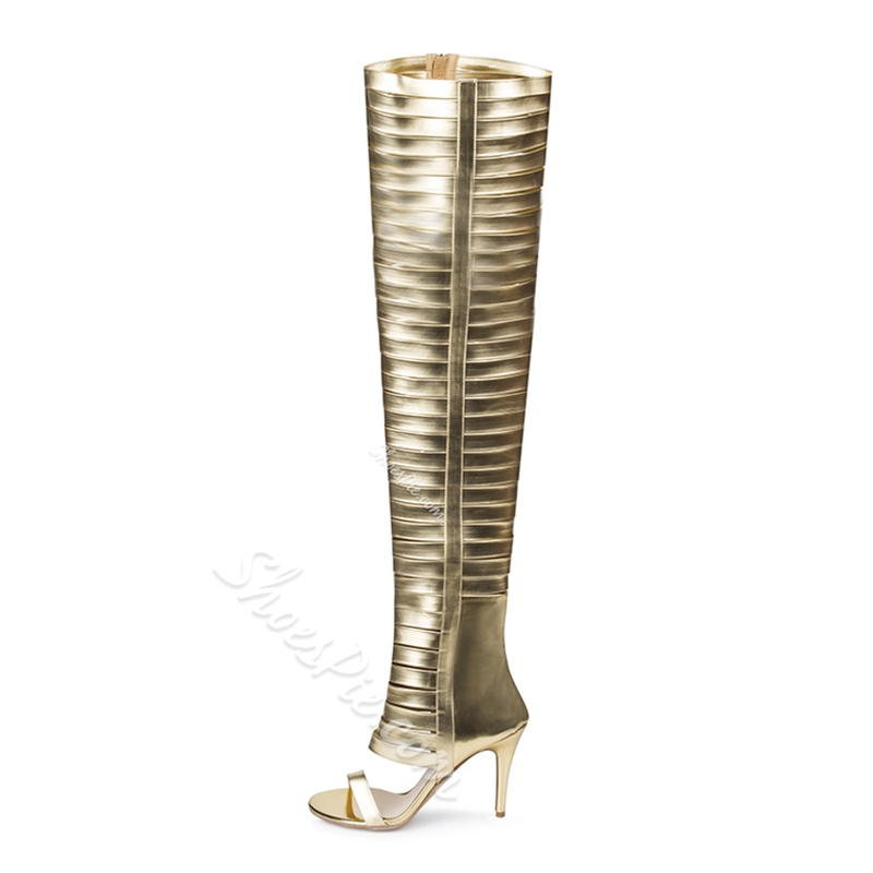 Shoespie Patent Leather Knee High Sandals