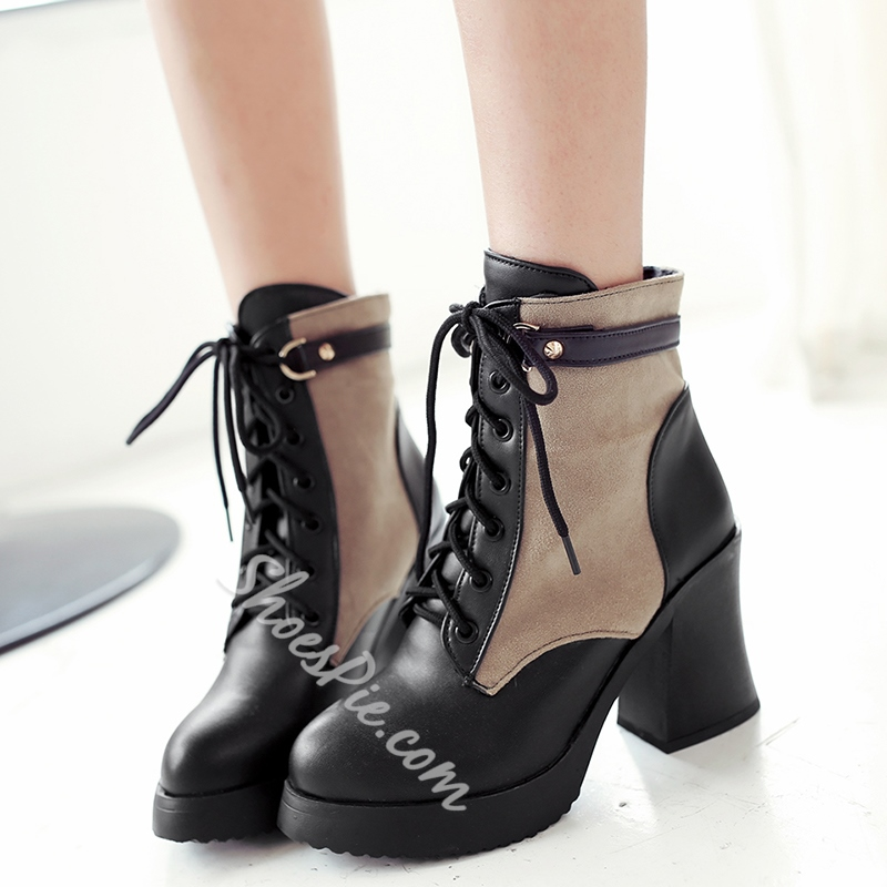 Shoespie Contrast Color Round Toe Martin Boots