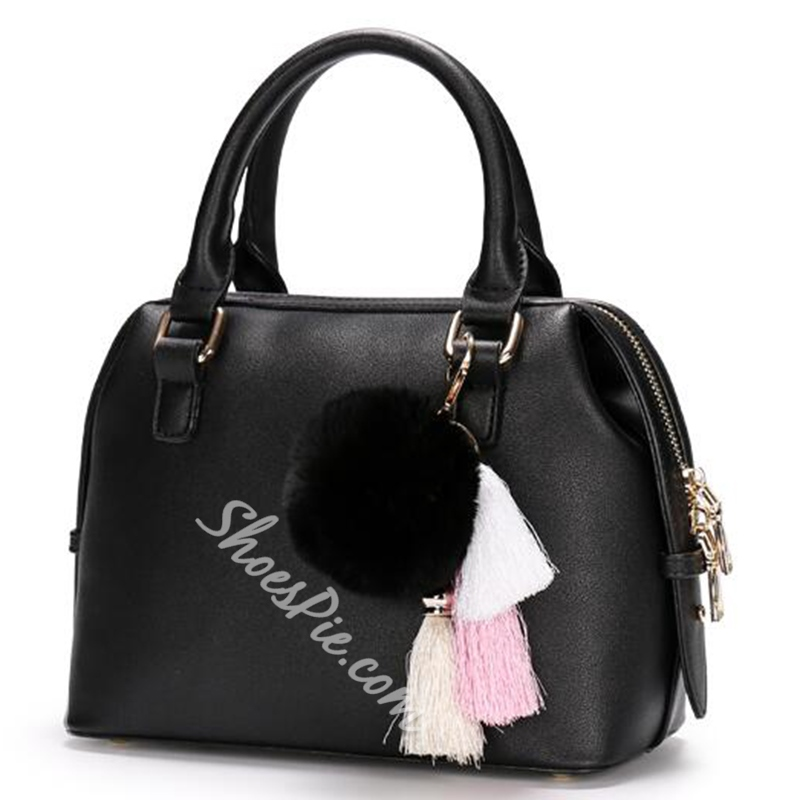 Shoespie Charming Cute Pompom Embellished Handbag