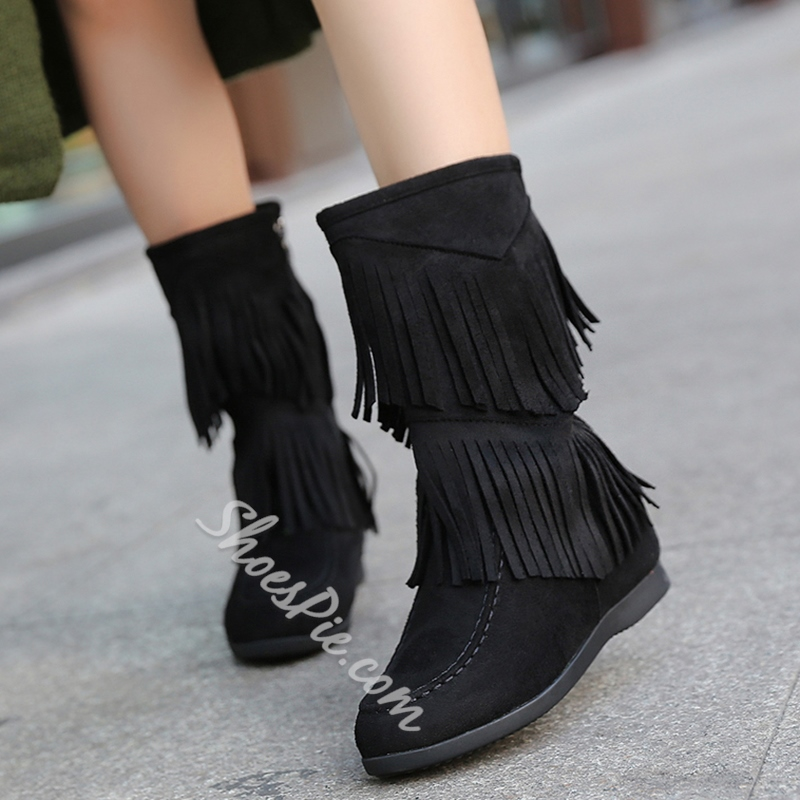 Shoespie Solid Color Fringe Flat Boots