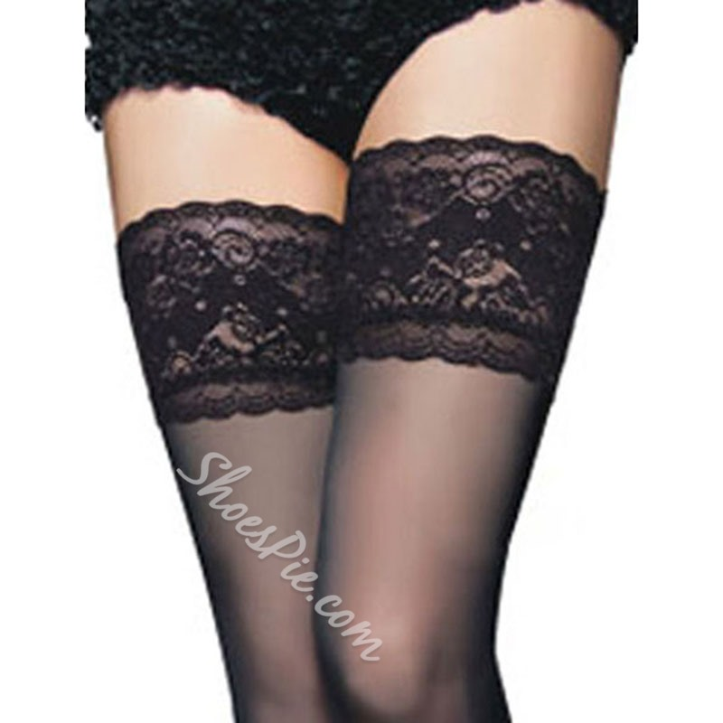 Shoespie Lace Solid Color Stockings