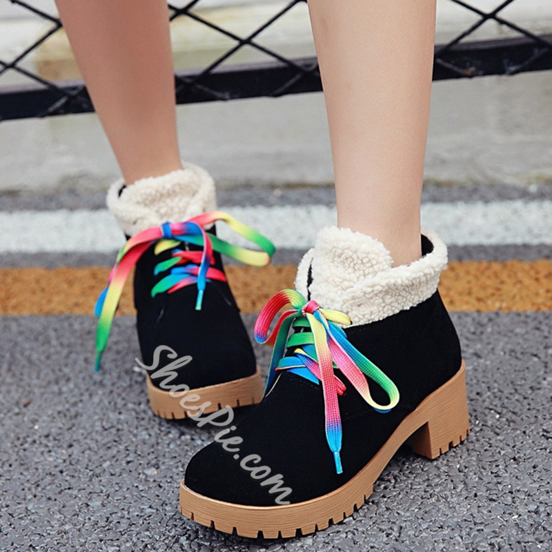 Shoespie Round Toe Rainbow Lace UP Hiking Boots