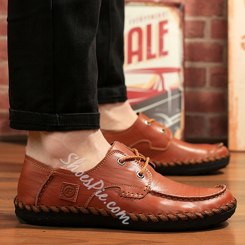 Shoespie Round Toe Soft Leather Lace Up Men's Loafers