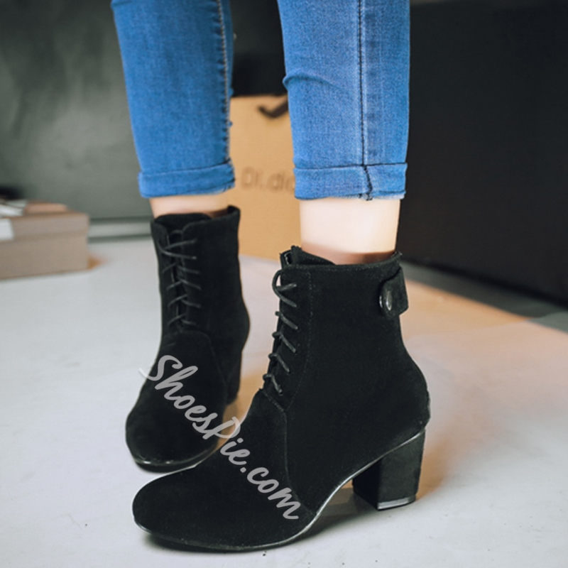 Shoespie Nubuck Round Toe Booties