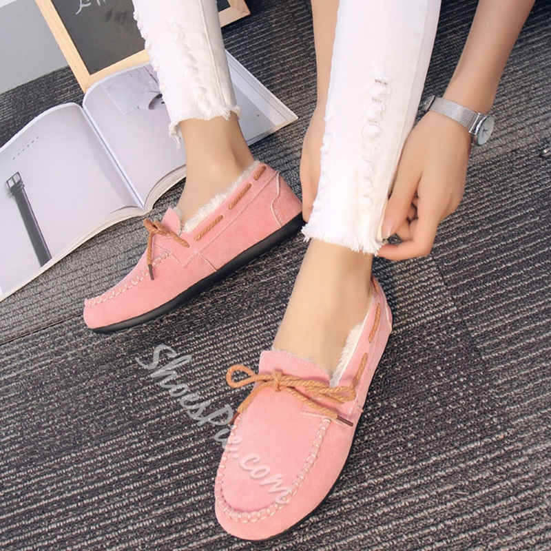 Shoespie Round Toe Cotton Loafers