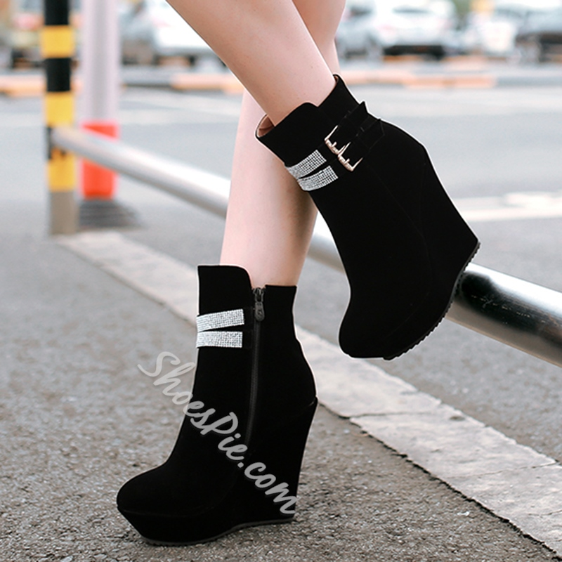 Shoespie Ankle Rhinestone Buckle Wedge Heel Fashion Booties