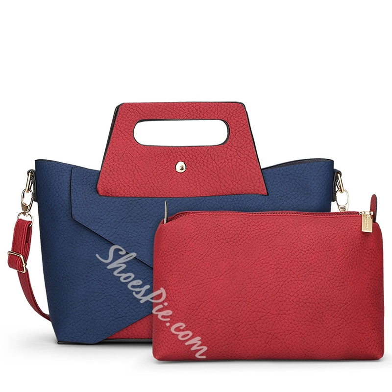 Shoespie Chic Color Block Handbag