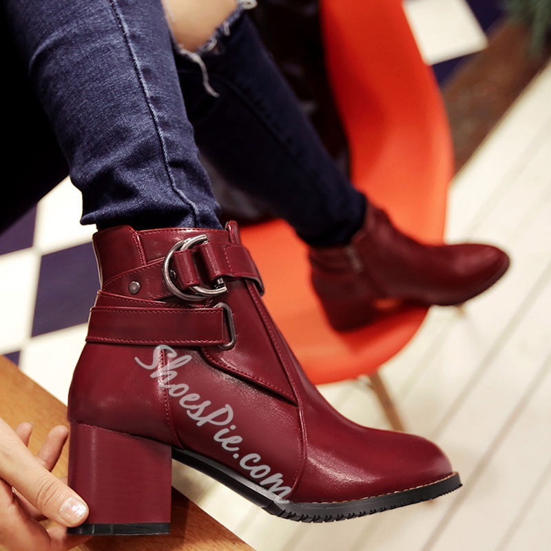 Shoespie Chic Buckle Fashion Booties