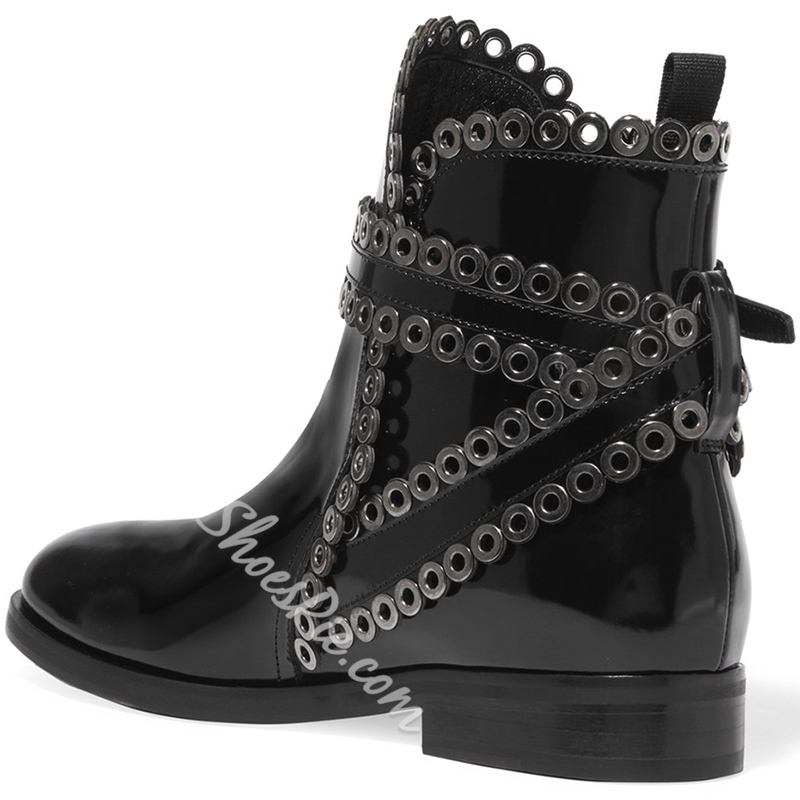 Shoespie Black Round Toe Fashion Booties