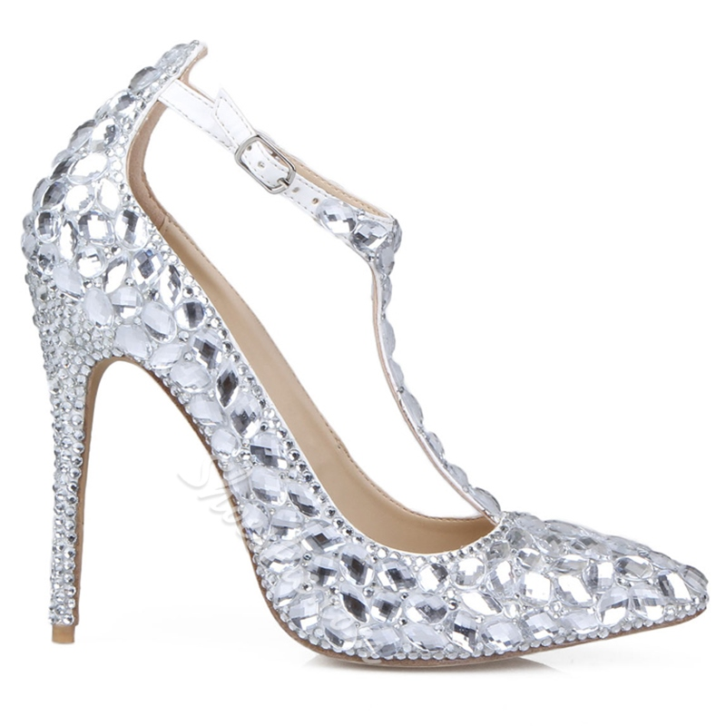 Shoespie All Sliver Rhinestone T Strap Bridal Shoes