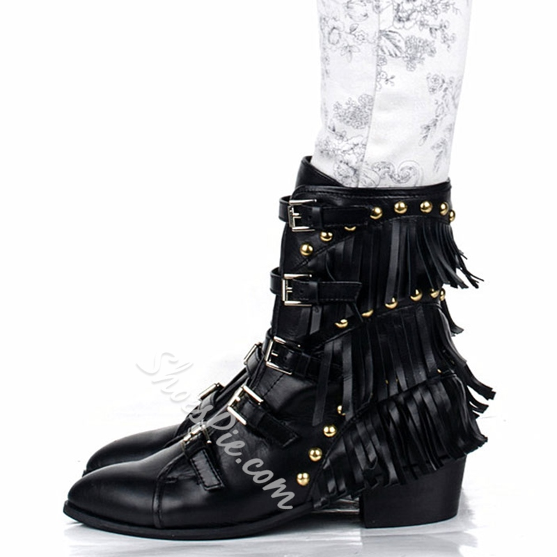 Shoespie Buckle Fringe Flat Hiking Boots