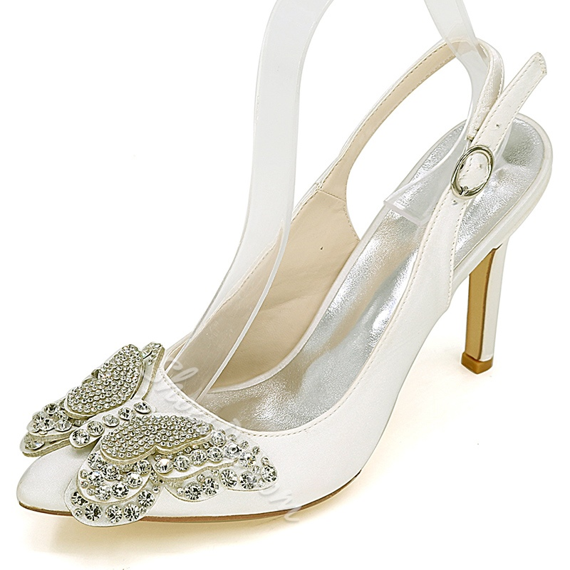 Shoespie Rhinestone Butterfly Appliqued Slingback Bridal Shoes