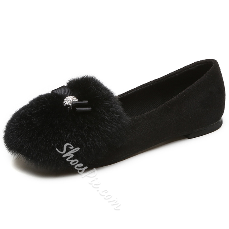 Shoespie Cute Furry Round Toe Loafers