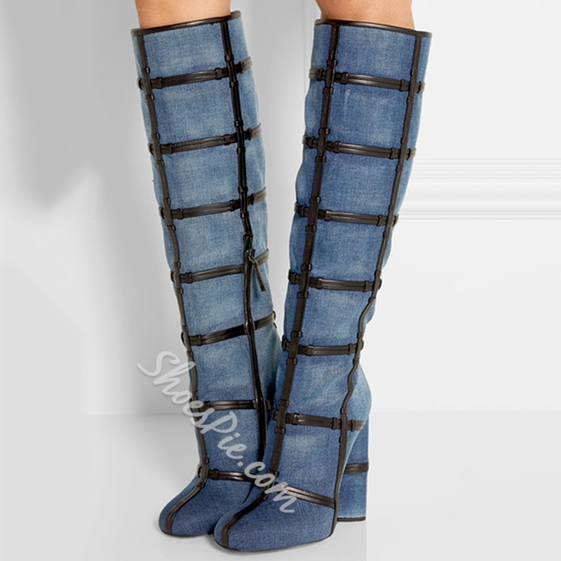 Shoespie Denim Blue PU Patchwork Chunky Heel Knee High Boots