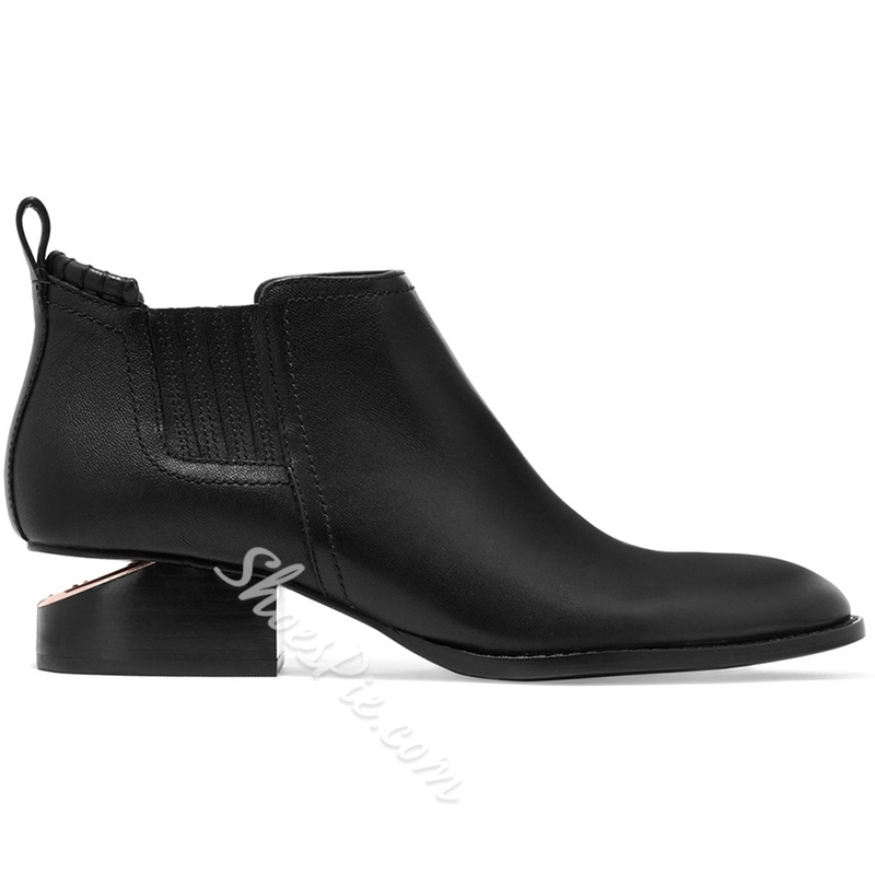 Shoespie Black Round Toe Strange Heel Fashion Booties