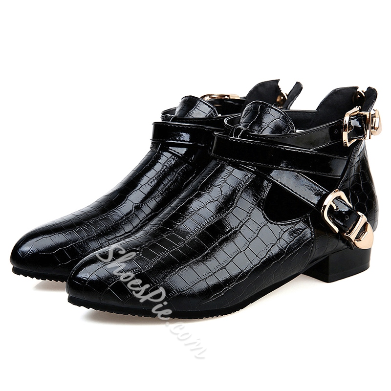 Shoespie Unique Embossed Ankle Buckle Ankle Boots