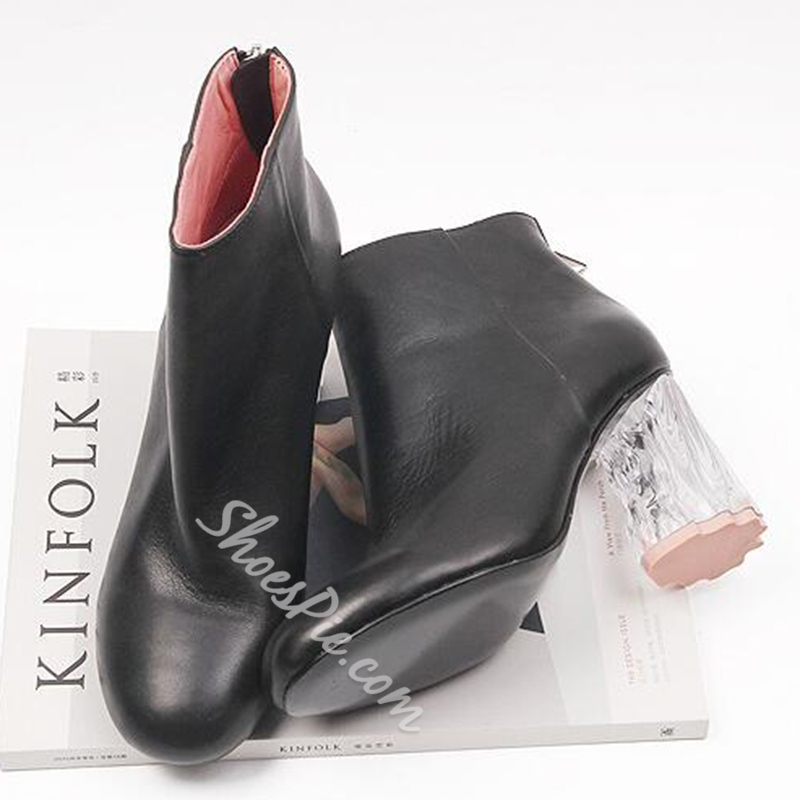 Shoespie Black Plain Transparent Heel Ankle Boots