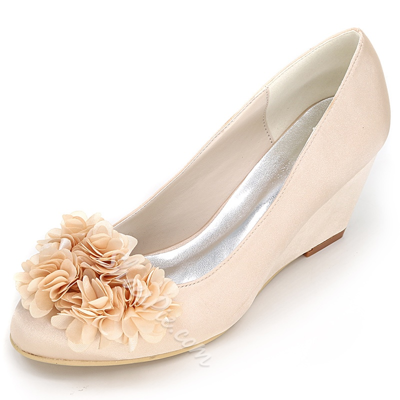 Shoespie Round Toe Wedge Heel Bridal Shoes