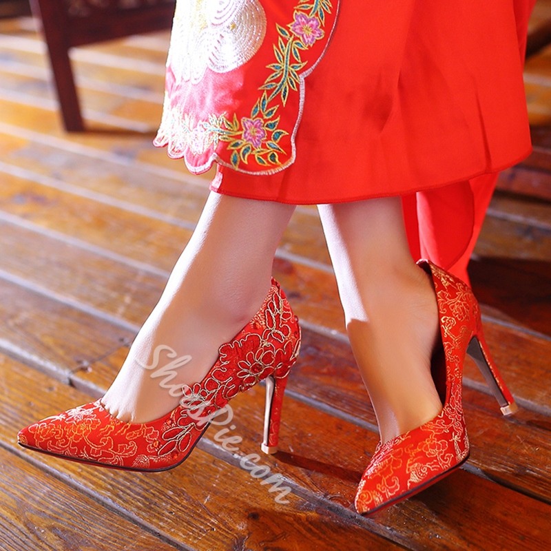 Shoespie Red Floral Embroidered Bridal Shoes
