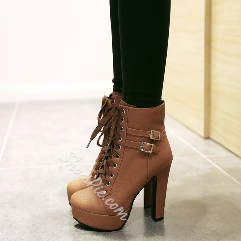 Shoespie Lace up Chunky Heel Ankle Boots