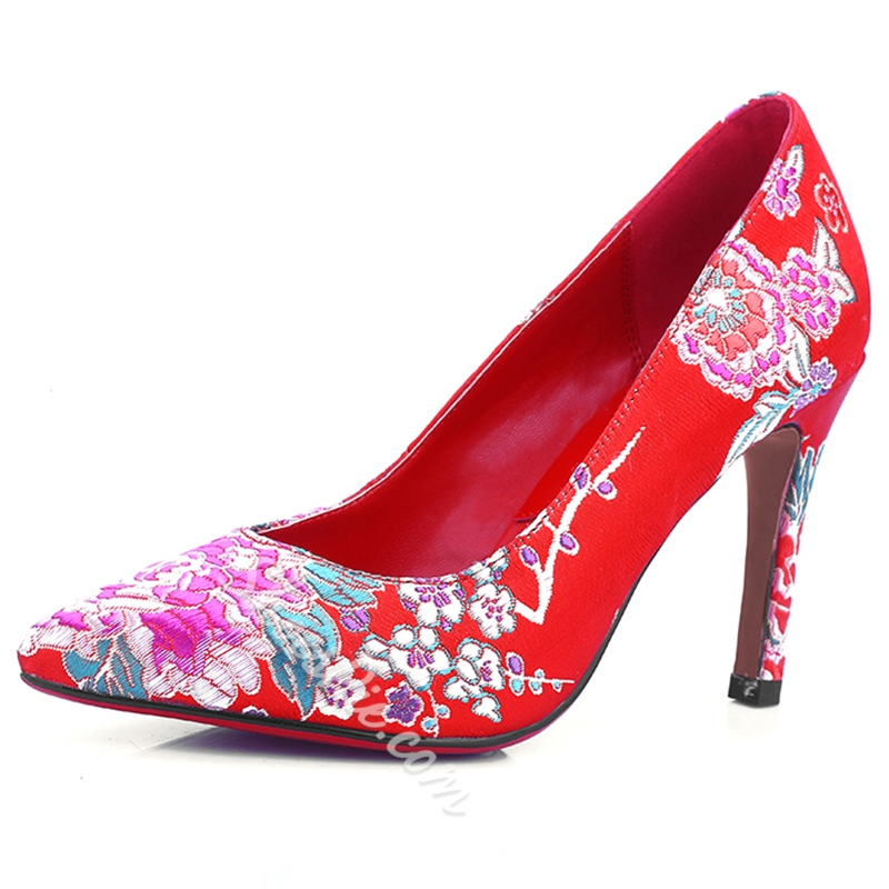 Shoespie Red Floral Embroidered Traditional Chinese Wedding Shoes